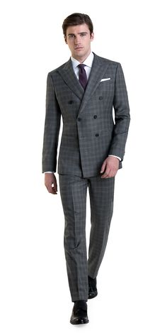 Custom Double-Breasted Suit in Gray Plaid | Black Lapel