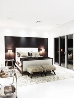 The master bedroom was designed with an indulgent palette of rich leathers and creamy textiles. #LincolnBlackLabel