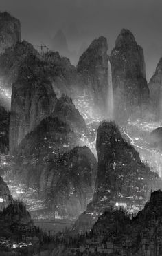 The Silent City: Digitally Assembled Futuristic Megalopolises by Yang Yongliang join us http://pinterest.com/koztar