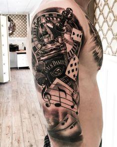 surrealism Realistic tiger tattoo black and grey ink inkedup chestpiece chesttattoo tigertattoo bngsociety inkmagazine inkmag bangbang sinnersinc womenportrait womentattoo facetattoo sleeve Mob Tattoo, Sleeve Tattoos, Card Tattoo, Tattoo Sun, Music Tattoo Sleeves, Bild Tattoos, Neue Tattoos, Tiger Tattoo, Design Tattoo