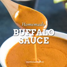 This homemade buffalo sauce recipe is great for chicken wings, meatballs or a dip for the ultimate party appetizer. An easy versatile sauce that tastes so much better than store bought. Chicken Wing Sauces, Chicken Wings Spicy, Sauce For Chicken, Chicken Wing Recipes, Buffalo Chicken Sauce, Buffalo Chicken Burgers, Chicken Dips, Chicken Fajitas, Hot Sauce Recipes