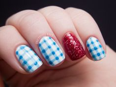 """Wizard of Oz nails. Love that Chalkboard Nails used a second blue color to get the gingham right. So many so-called """"gingham"""" nails are really just white nails with a colored grid on top. The color overlay is critical! If it doesn't happen with your sheer polish...fake it."""