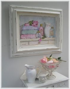 Any old frames you have, paint them white, look how good art looks in white frames. Tole Painting, Painting On Wood, Decoupage On Canvas, Irish Cottage, Cottage Bath, Old Frames, White Frames, Estilo Shabby Chic, Painting Gallery