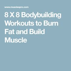 8 X 8 Bodybuilding Workouts to Burn Fat and Build Muscle