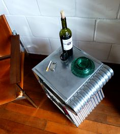 Side table made from corrugated aluminum. AERO-1946