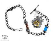 """Alchemy Scrap Yard 12"""" T-Bar Cameo Steampunk Fob Pocket Watch Chain"""