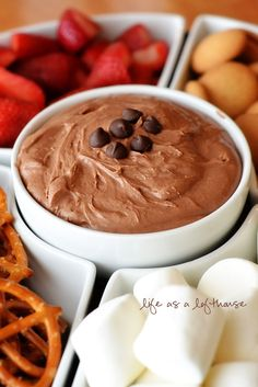 Brownie Batter Dip...so good! serve with strawberries, pretzels, marshmallows, nilla wafers
