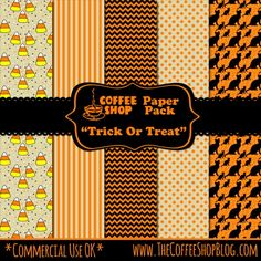 "The CoffeeShop Blog: CoffeeShop ""Trick or Treat"" Digital Paper Pack! Today I am posted a fun Halloween-themed digital paper pack.  You can use these papers on Facebook covers, blogs and websites, cards, wrapping paper, etc. These can be used wherever you want (personal OR commercial work), no attribution necessary.  Just don't resale them ""as is"" as I want to keep them free.  :-)"