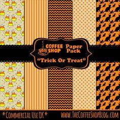"FREE CoffeeShop ""Trick or Treat"" digital paper pack"