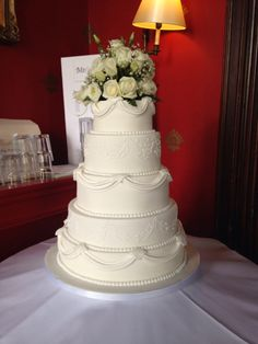 5 tier white wedding cake