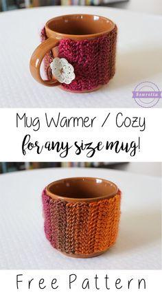 Crochet Mug Warmer / Cozy for ANY size mug! | Free Pattern from Sewrella