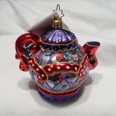 "Christopher Radko 2004 ""BREWING UP FUN"" Red Hat Society Teapot NEW w/Tag & Box picclick.com"