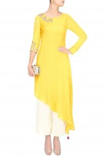 Mustard Yellow Embroidered Asymmetric Kurta With Pants #yellow #white #kurta…