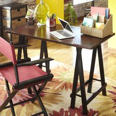 Sawhorse Desk - Black & Brown