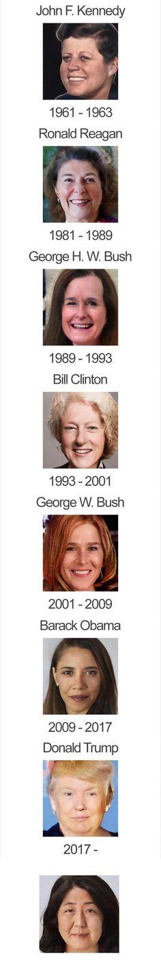 大統領や首相の顔写真をアプリで女性化