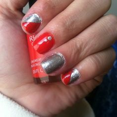 Red and silver nail art