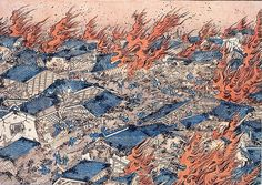 Japanese fire scene showing the type of devastation caused by fire in Edo Period Japan.