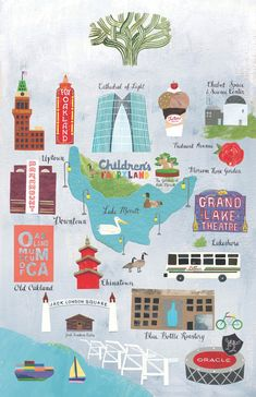 """This print is from original cut-paper illustrations featuring the iconic locations and objects of Oakland, California. - 11""""x17"""" print with a minimum of 1/4"""" border all around– a standard ready made f"""
