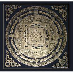 Black Kalachakra Mandala Thangka
