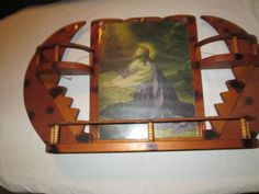 Primitive Tramp Art Stairway To Heaven Curio Shelf Crescent Moon Jesus Picture