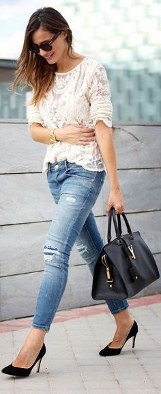 Lace top & distressed jeans.