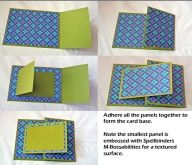 Take a 8 x 4 piece of cardstock and score it at 5. Cut two pieces of patterned paper in 5 x 4 and 2 x 4.Take an 8 x 3 piece of cardstock and score at 4. I cut a piece of 3 x 2 patterned paper. emboss 3 x 2 piece of cardstock.