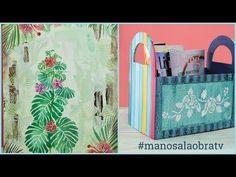 ManosalaObraTv Programa 73 - Revistero - Pintura Decorativa - Cuadro Botanica - YouTube Stencils, Tropical, Decoupage, Country, Youtube, Craft, Boxes, Aging Wood, Wooden Crates