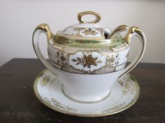 Nippon Noritake Moriage Hand Painted Sugar Bowl With Spoon And Plate Green Gold #Noritake