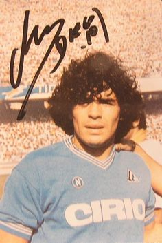 Diego Armando Maradona, autographed picture, from his Napoli years.