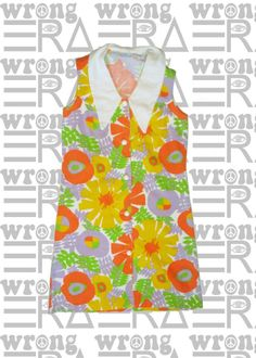 vintage 1970s button down bright floral sleeveless dress with pointed collar
