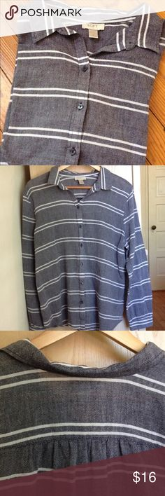 """LOFT indigo striped button down Wide weave cotton button down. The base color is a deep gray indigo. No flaws, unworn condition.   This is the only 100% cotton garment that I've ever seen come back from laundry totally unwrinkled and ready-to-wear; there is clearly some kind of Ann Taylor magic at work here...     23.5"""" armpit to armpit 26"""" front length 28.5"""" back length. Ann Taylor Tops Button Down Shirts"""