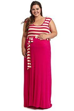 959649c684 Fuchsia Striped Top Sash Tie Plus Size Maternity Maxi Dress