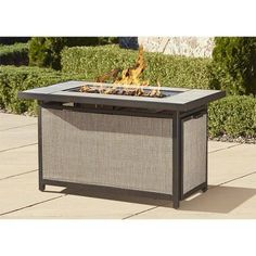 Cosco Outdoor Serene Ridge Aluminum Propane Gas Fire Pit Table with Lid, Rectangular, Dark Brown