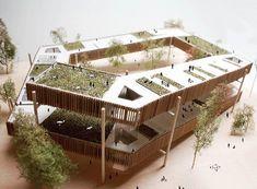 Elevated communal area or community garden Concept Models Architecture, Maquette Architecture, Architecture Model Making, Architecture Concept Diagram, Architecture Drawings, Futuristic Architecture, Facade Architecture, School Architecture, Landscape Architecture