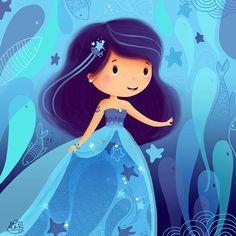 Elen Lescoat Illustratrice *Petite ondine* Princess Illustration, Illustration Art Nouveau, Character Illustration, Graphic Illustration, Painting For Kids, Art For Kids, Art Hipster, Mermaid Drawings, Fantasy Paintings