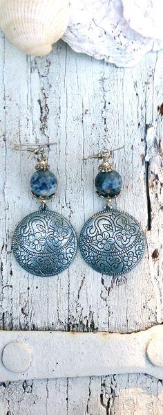 Blue Patina Floral Etched Semi Precious Stone Earrings by Secret Stash Boutique