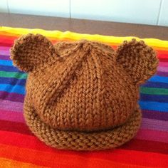 Simple infant teddy bear hat pattern.