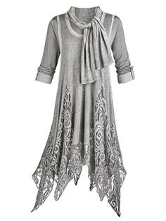 ericdress.com offers high quality  Ericdress Lace Patchwork Asymmetric with Scarf Casual Dress Casual Dresses  unit price of $ 28.82.