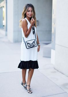Summer White Dress With Black Ruffle
