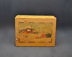 Secret Compartment Box, Small Japanese Puzzle Box Secret Compartment Box, Japanese Puzzle Box, Mount Fuji, Small Boxes, Paint Designs, Trinket Boxes, Sliding Doors, Valentine Gifts, Gifts For Her