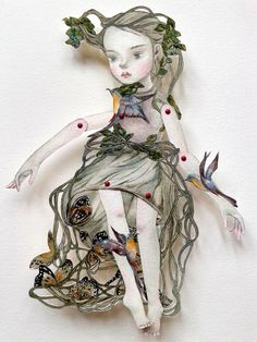 """OOAK Original Hand Painted Paper Doll """" Big Tree"""",hand drawn, articulated doll, Bird, Butterfly, Woods, Fantasy Art"""