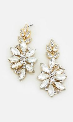 Crystal Charisse Earrings in Gold