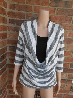 CHICO'S Draped Neck Top Size 1 M Rayon Blend 3/4 Sleeve Black/White Striped USA #Chicos #KnitTop #Casual