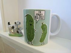Kind of a Big Dill Mug, Funny Mug, Ceramic Mug, 11 oz Mug, Pickle Art, Food Pun, Gift for Boss, Coffee Mug, Kind of a Big Deal, Birthday Mug by CallMeArtsy on Etsy https://www.etsy.com/listing/236051539/kind-of-a-big-dill-mug-funny-mug-ceramic