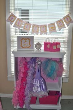 Princess Dress Up Party - Pink and Gold | CatchMyParty.com Pink And Gold Birthday Party, Gold Party, 1st Birthday Girls, Diy Birthday, Birthday Parties, Pink And Gold Dress, Girl Birthday Decorations, Princess Dress Up, Party Shop