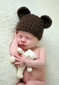 Newborn Baby Boy Hat Girl Bear Hat Photography Prop Crochet Knit Boy Girl Baby Photo Prop Chunky Chocolate Bear Hat. $18.99, via Etsy.