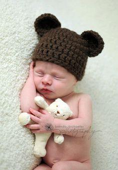Newborn Baby Boy Hat Girl Bear Hat Photography Prop Crochet Knit Boy Girl Baby Photo Prop Chunky Chocolate Bear Hat. $18.99, via Etsy.