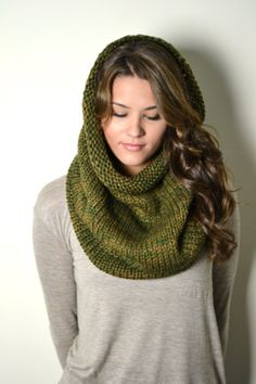 OLIVE GREEN Chunky Honeycomb Knit Tube Infinity by AnytimeScarf, $32.00