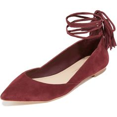 Loeffler Randall Penelope Ankle Wrap Flats ($295) ❤ liked on Polyvore featuring shoes, flats, flat pumps, pointed toe flats, leather pointed toe flats, ankle strap shoes and leather flats