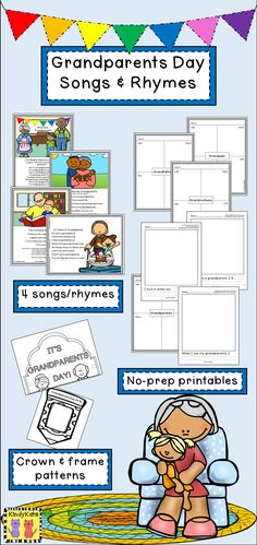 Spark student excitement for Grandparents Day and work on literacy skills, too, with these original piggyback songs and rhymes! Grandparents Day Songs, Grandparents Day Activities, National Grandparents Day, Preschool Bible Lessons, Preschool Music, Preschool Ideas, Preschool Crafts, Kids Crafts, Teaching Ideas